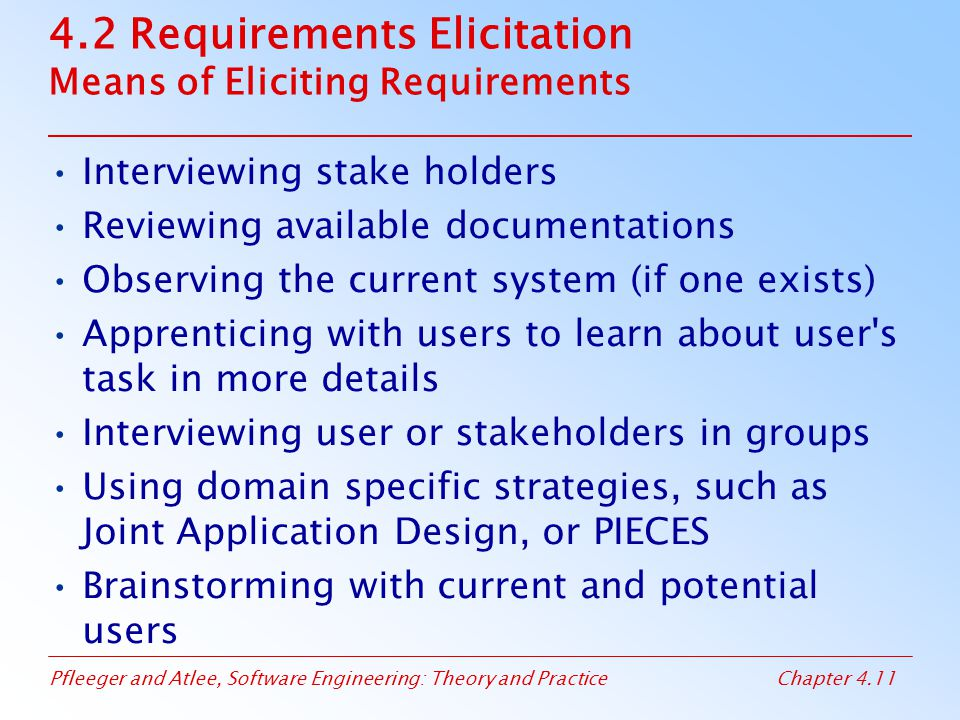 4.2 Requirements Elicitation Means of Eliciting Requirements