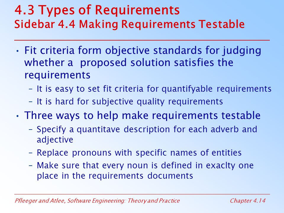 4.3 Types of Requirements Sidebar 4.4 Making Requirements Testable