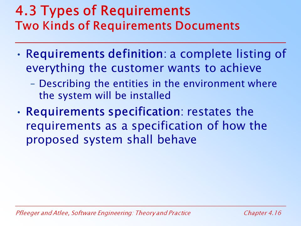 4.3 Types of Requirements Two Kinds of Requirements Documents