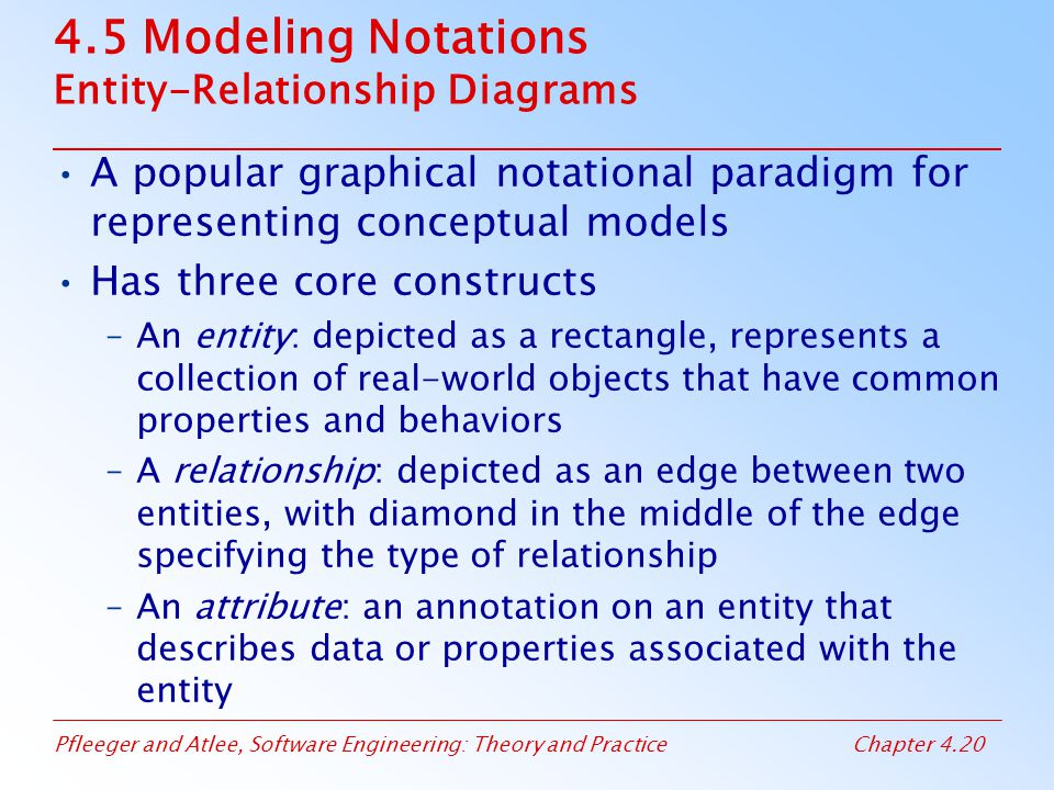 4.5 Modeling Notations Entity-Relationship Diagrams