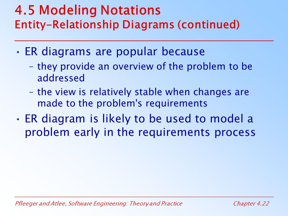 4.5 Modeling Notations Entity-Relationship Diagrams (continued)