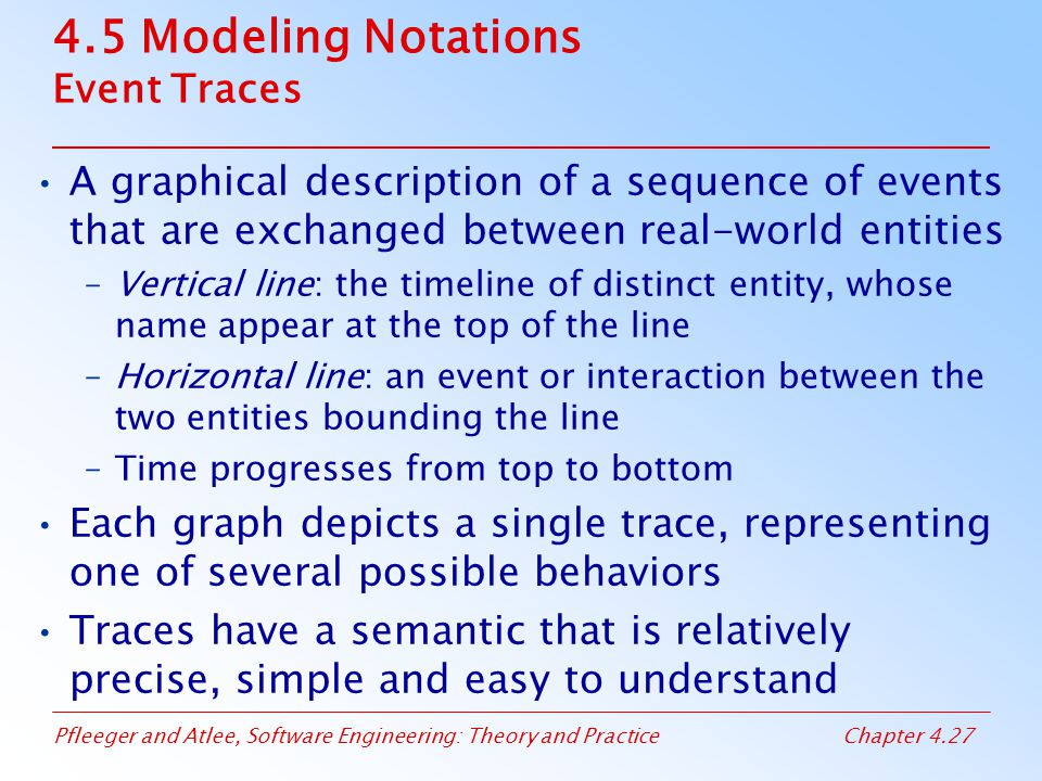 4.5 Modeling Notations Event Traces