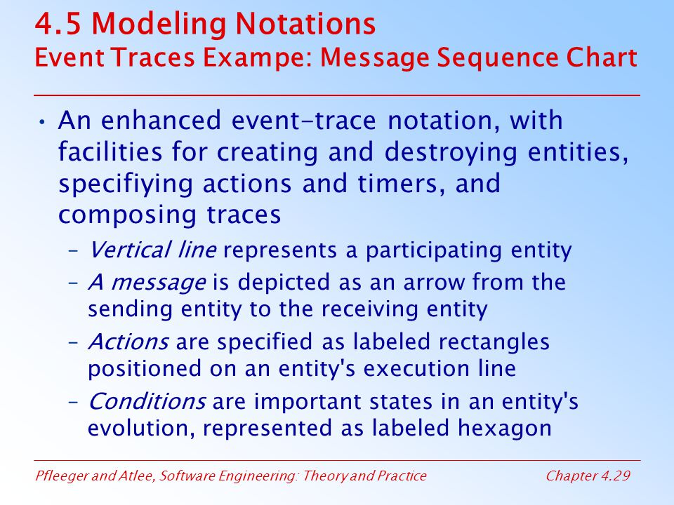 4.5 Modeling Notations Event Traces Exampe: Message Sequence Chart