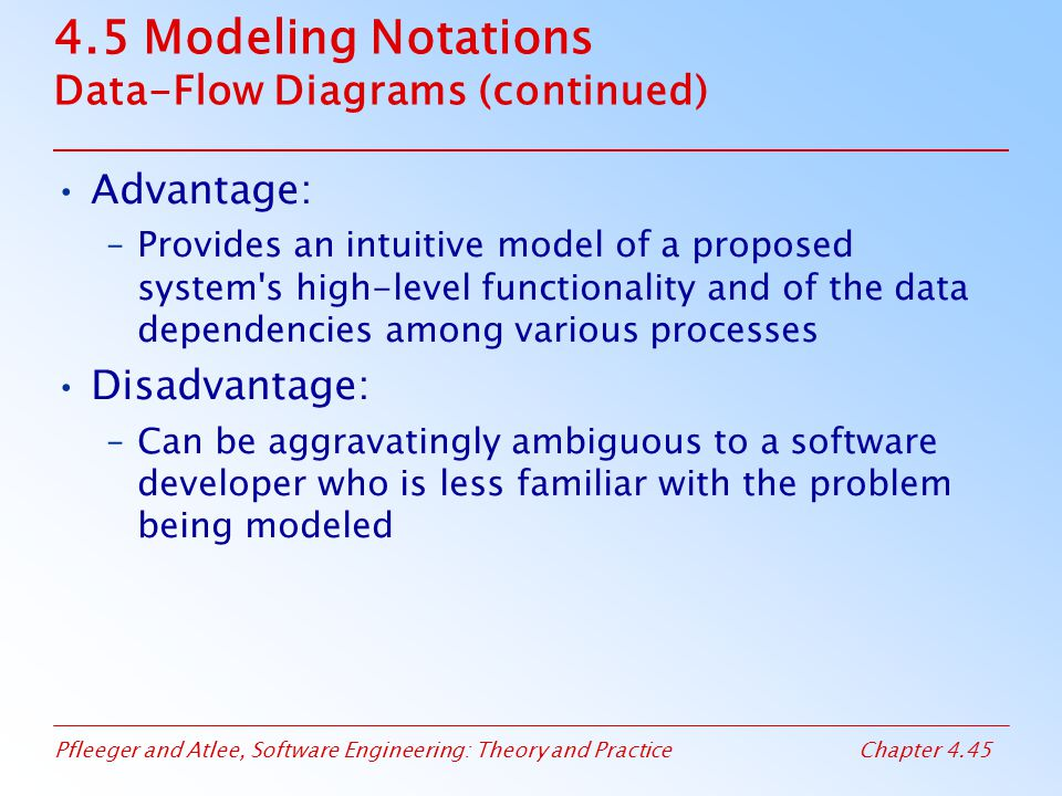 4.5 Modeling Notations Data-Flow Diagrams (continued)