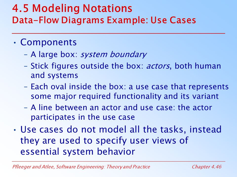 4.5 Modeling Notations Data-Flow Diagrams Example: Use Cases