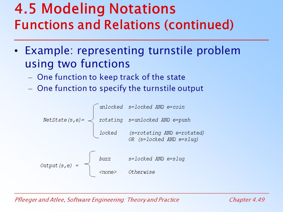 4.5 Modeling Notations Functions and Relations (continued)