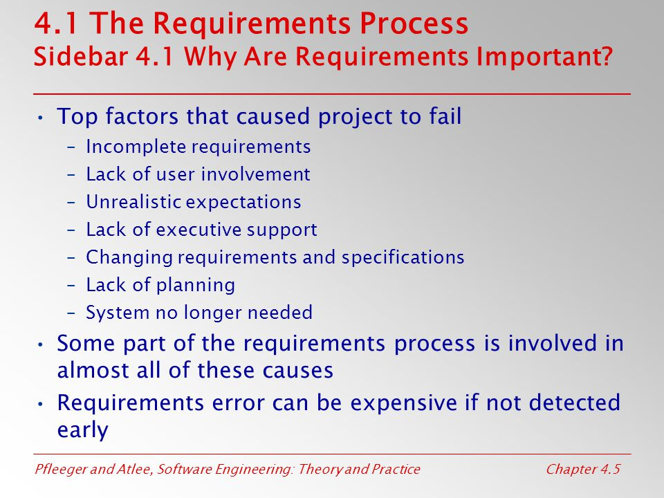 4. 1 The Requirements Process Sidebar 4