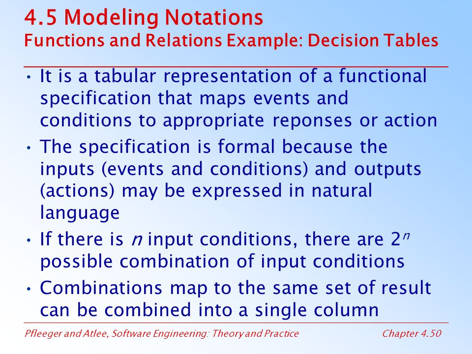 4.5 Modeling Notations Functions and Relations Example: Decision Tables