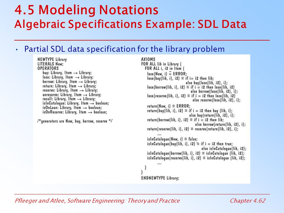 4.5 Modeling Notations Algebraic Specifications Example: SDL Data