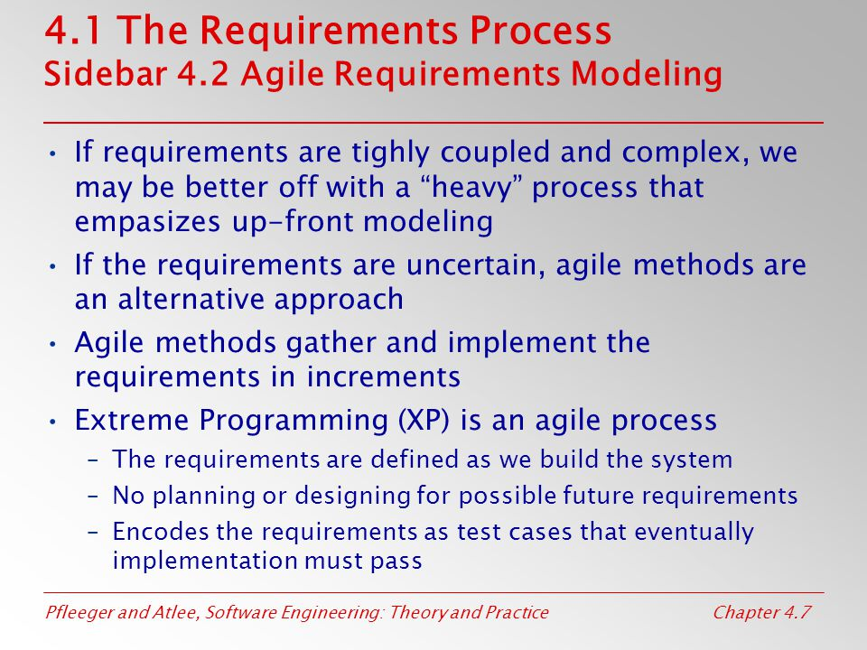 4.1 The Requirements Process Sidebar 4.2 Agile Requirements Modeling