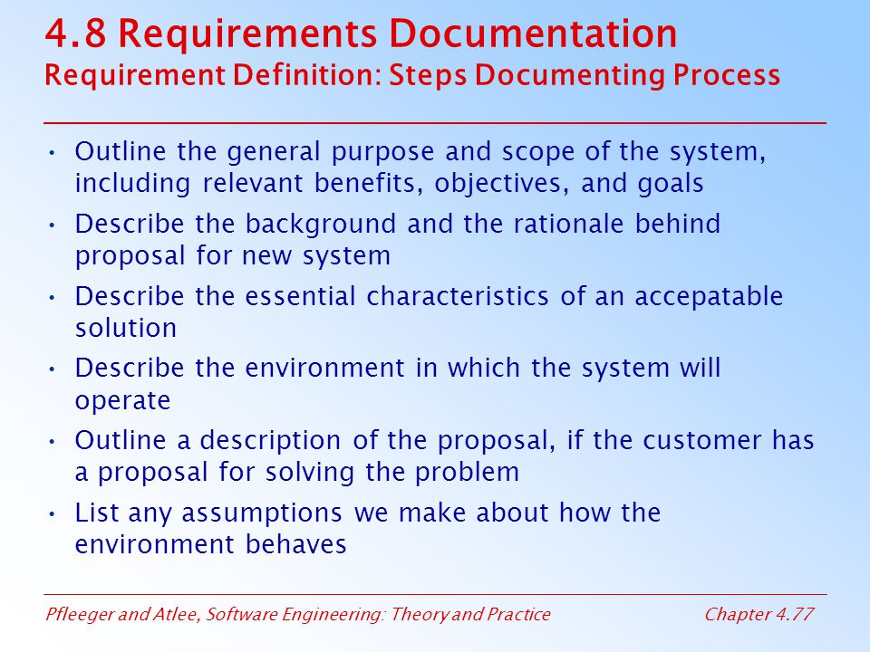 4.8 Requirements Documentation Requirement Definition: Steps Documenting Process
