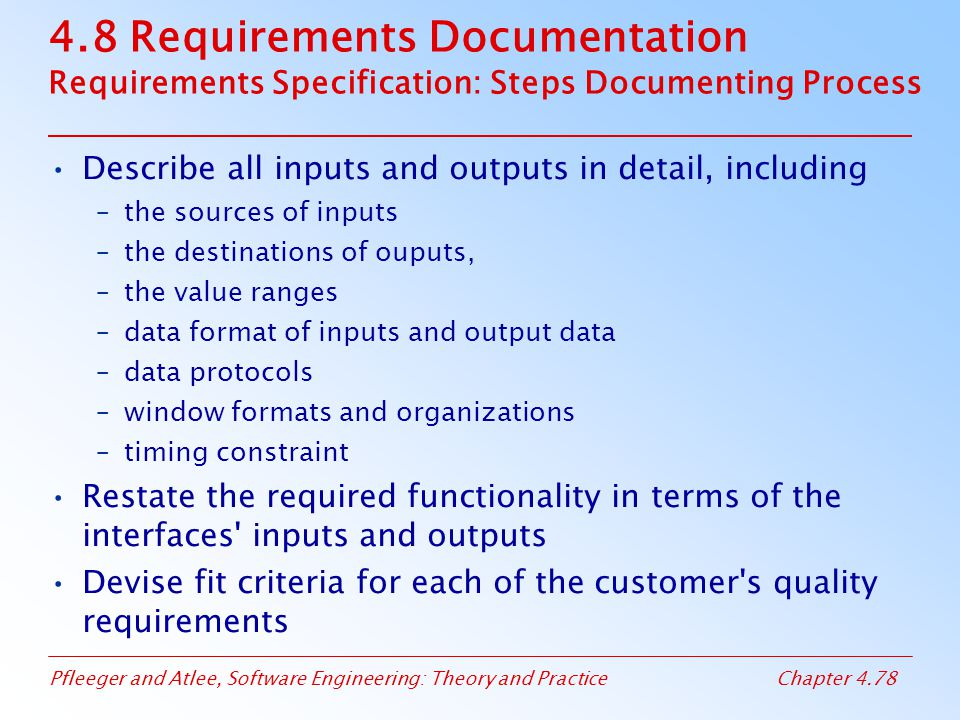 4.8 Requirements Documentation Requirements Specification: Steps Documenting Process