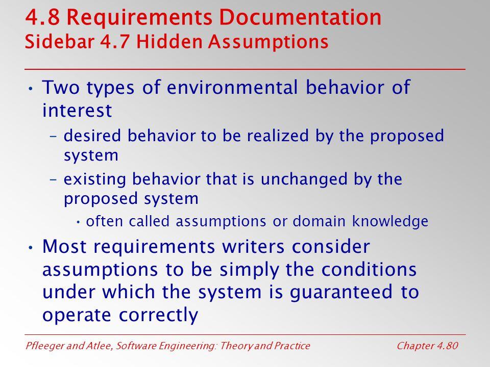 4.8 Requirements Documentation Sidebar 4.7 Hidden Assumptions