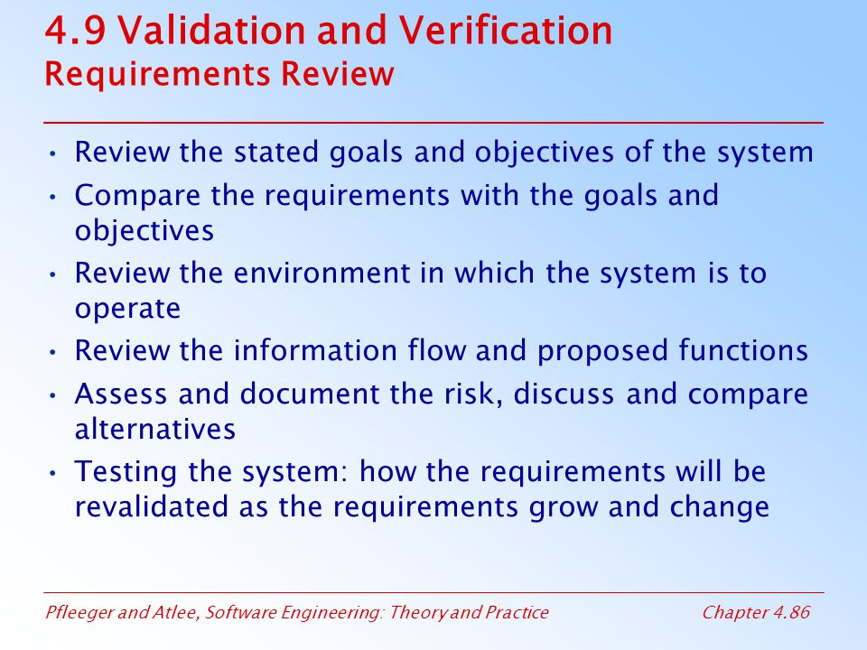 4.9 Validation and Verification Requirements Review