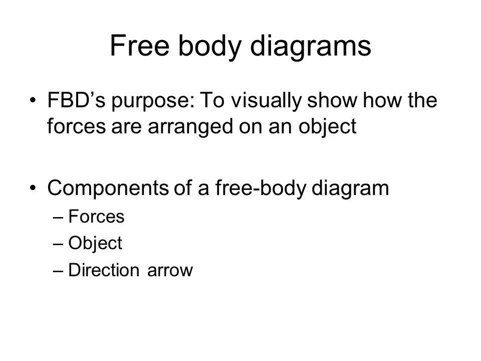 Free body diagrams FBD's purpose: To visually show how the forces are arranged on an object. Components of a free-body diagram.