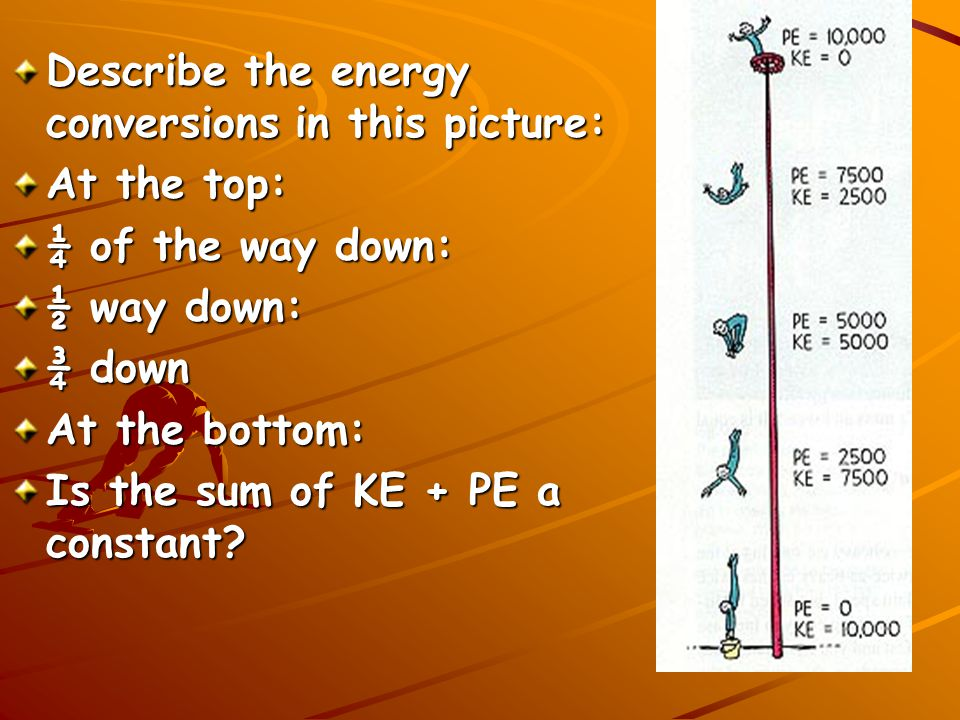 Describe the energy conversions in this picture:
