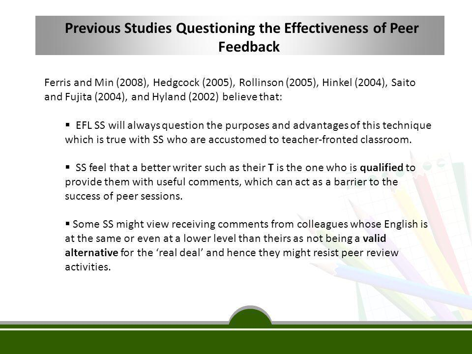 Previous Studies Questioning the Effectiveness of Peer Feedback