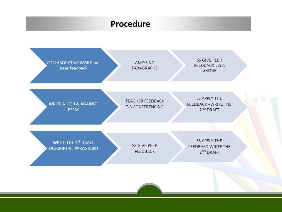 Procedure COLLABORATIVE WORK-pre-peer feedback ANAYSING PARAGRAPHS