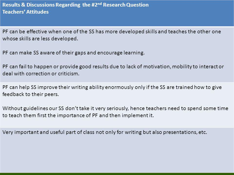 Results & Discussions Regarding the #2nd Research Question