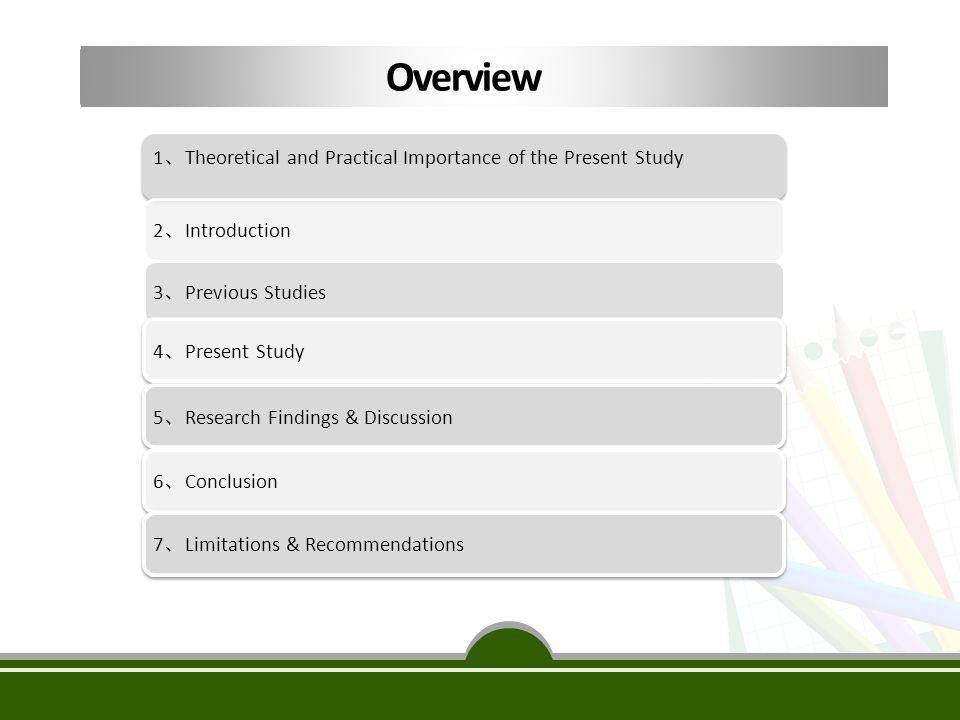 Overview 1、Theoretical and Practical Importance of the Present Study
