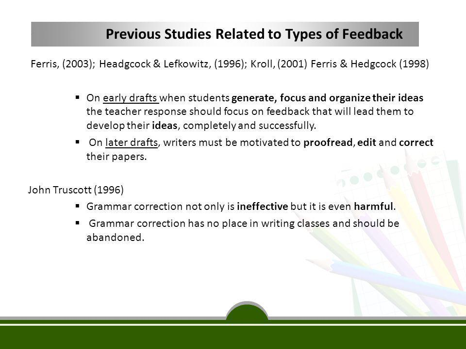 Previous Studies Related to Types of Feedback