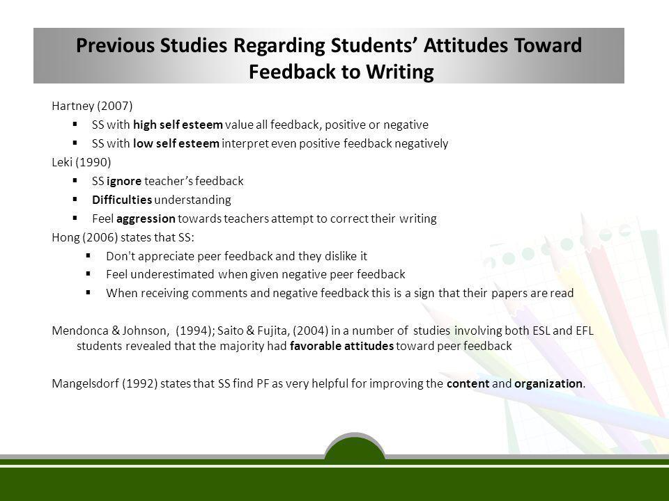 Previous Studies Regarding Students' Attitudes Toward Feedback to Writing