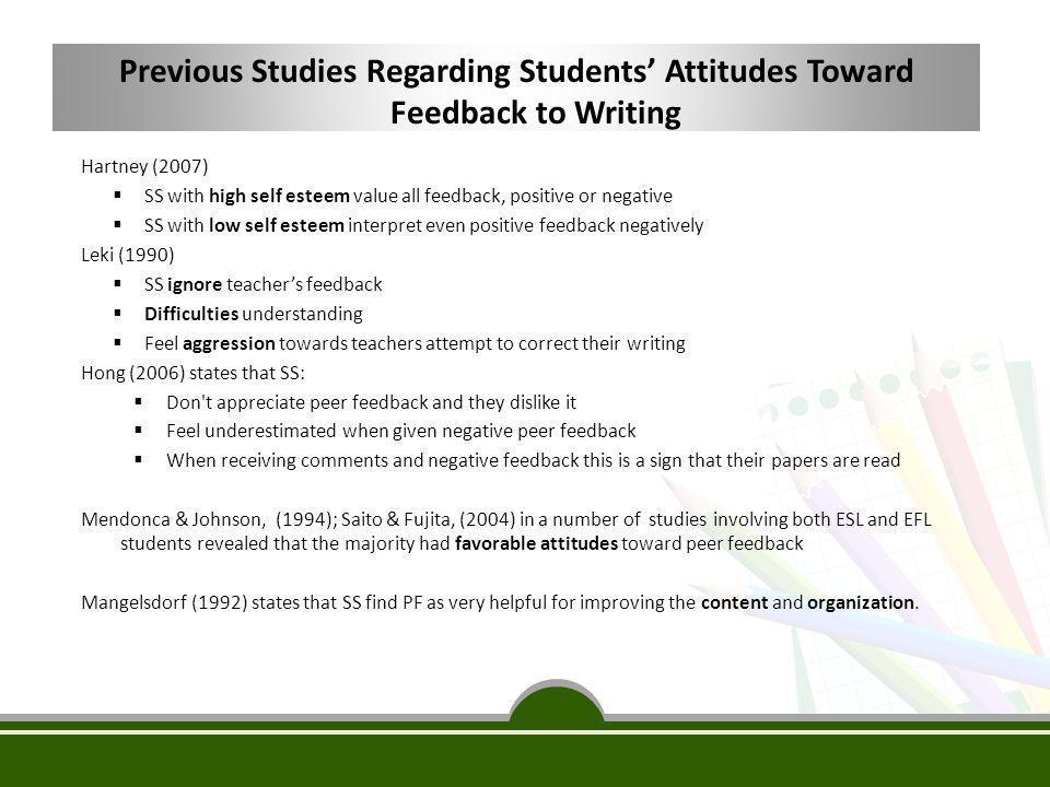 Previous Studies Regarding Students' Attitudes Toward Feedback to Writing