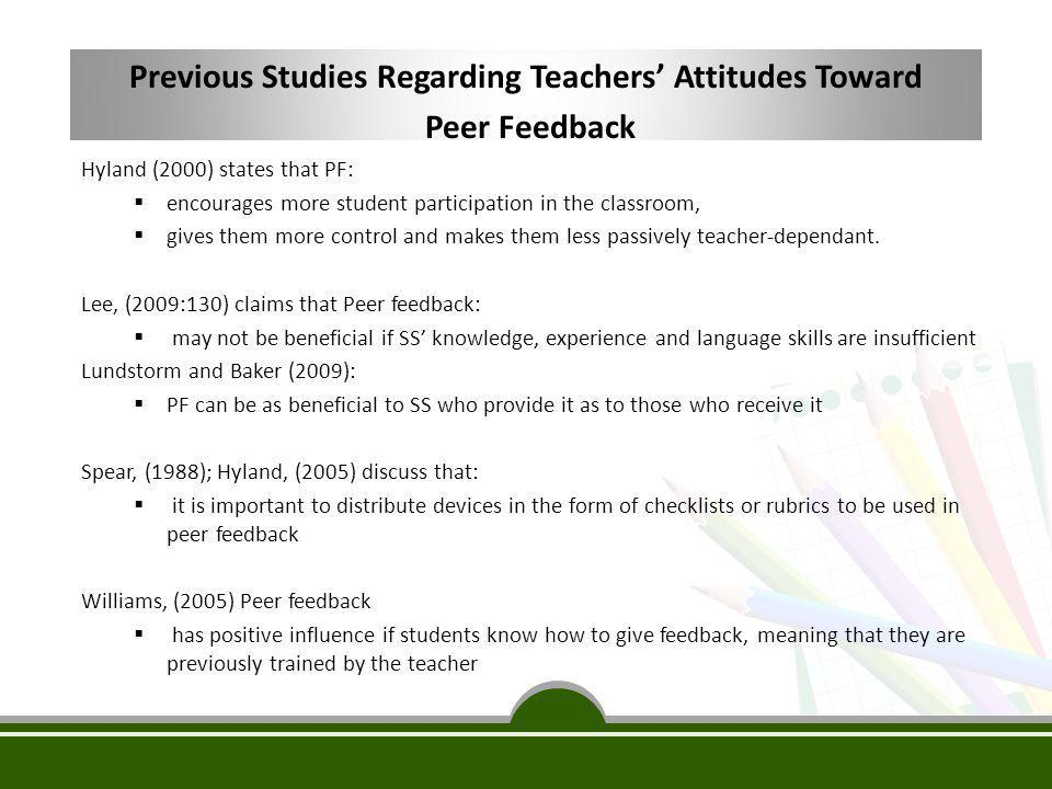 Previous Studies Regarding Teachers' Attitudes Toward