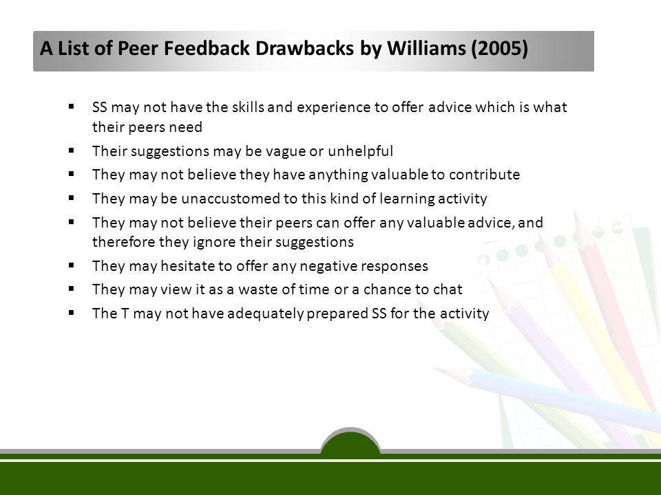 A List of Peer Feedback Drawbacks by Williams (2005)