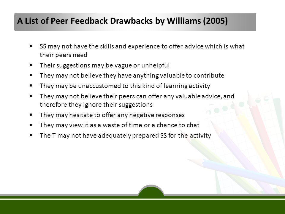 A List of Peer Feedback Drawbacks by Williams (2005)