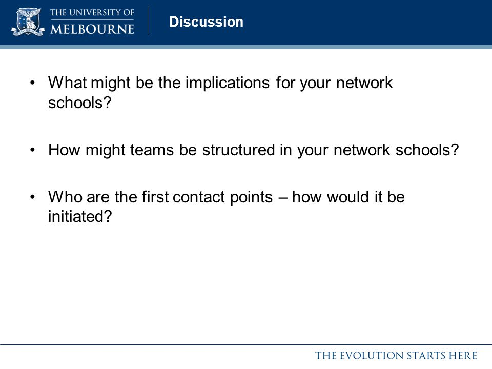 What might be the implications for your network schools