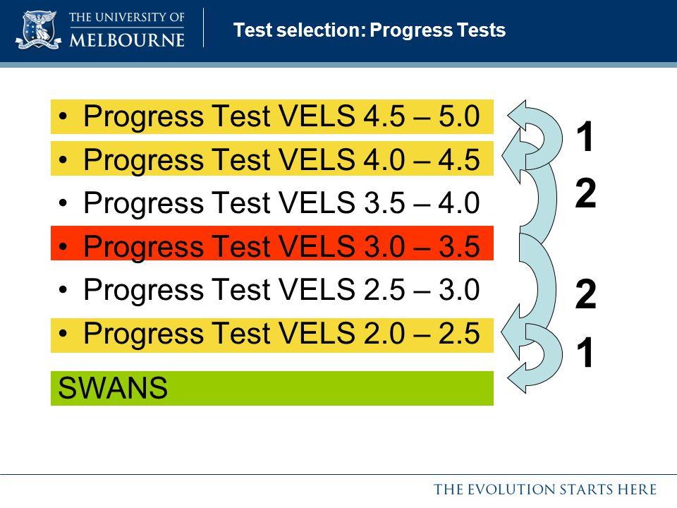Test selection: Progress Tests