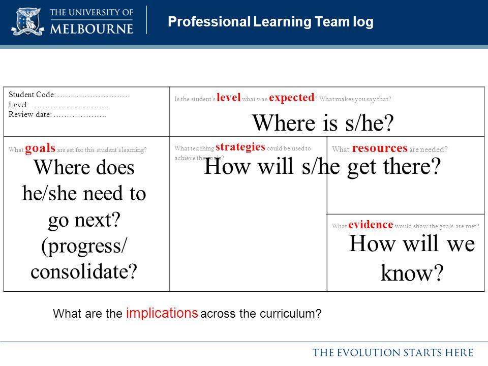 Professional Learning Team log