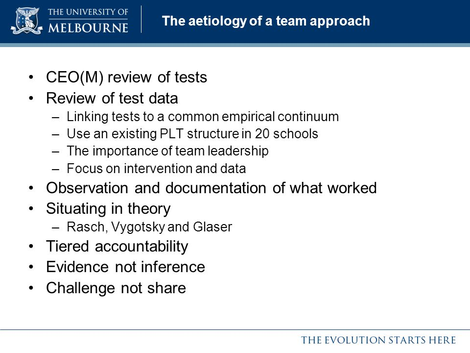 The aetiology of a team approach