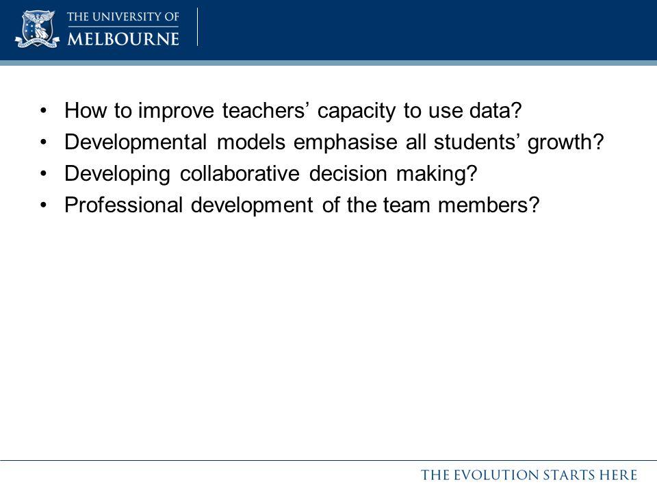 How to improve teachers' capacity to use data