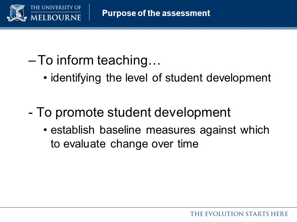 Purpose of the assessment