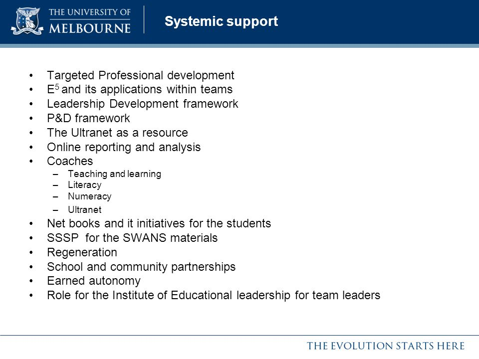 Systemic support Targeted Professional development