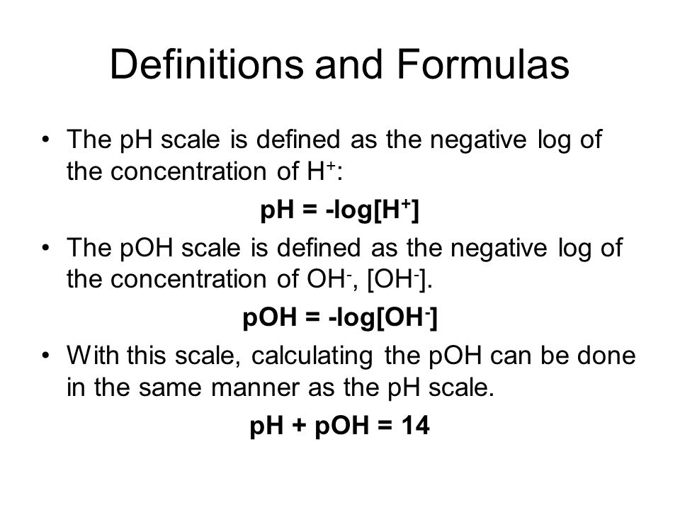 Definitions and Formulas