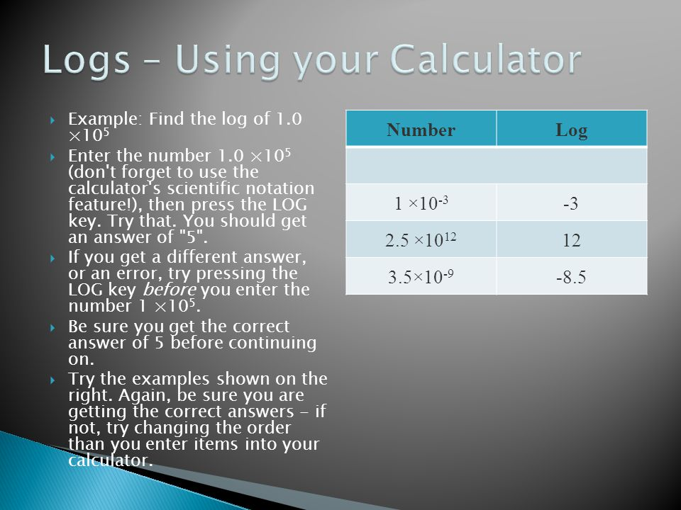 Logs – Using your Calculator