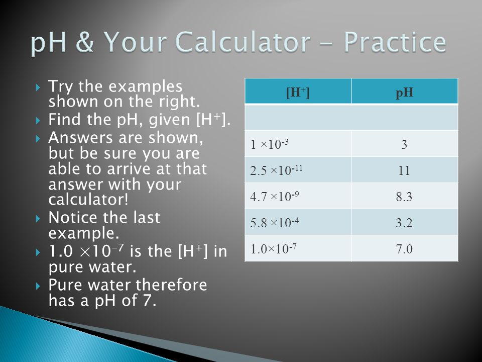 pH & Your Calculator - Practice