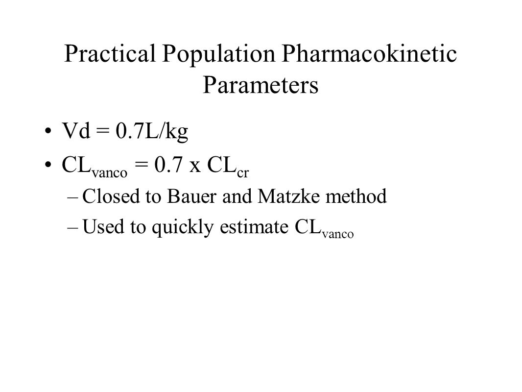 Practical Population Pharmacokinetic Parameters