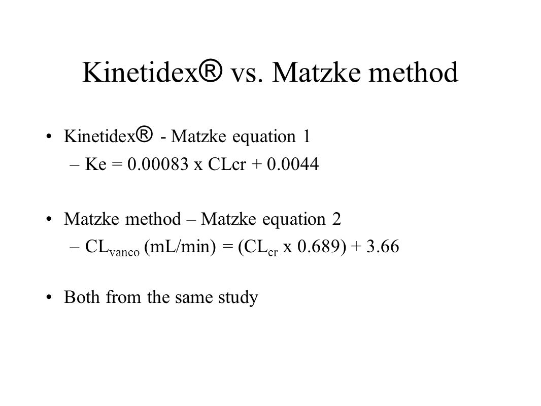 Kinetidex® vs. Matzke method
