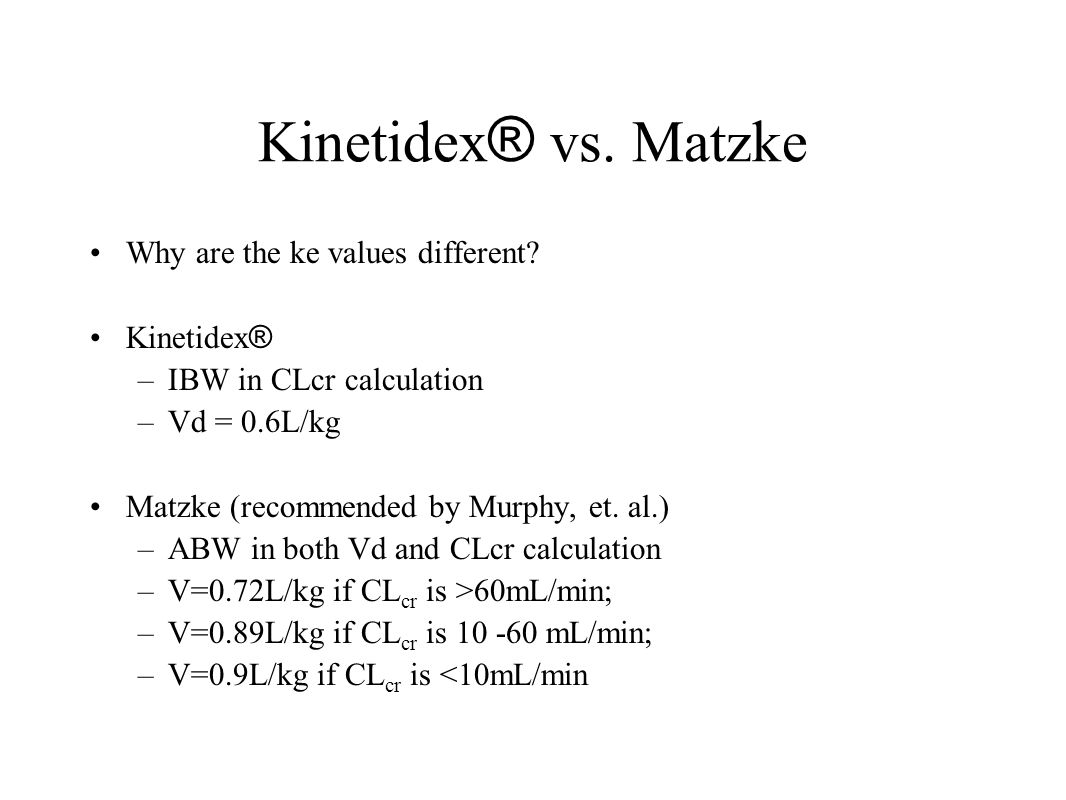 Kinetidex® vs. Matzke Why are the ke values different Kinetidex®