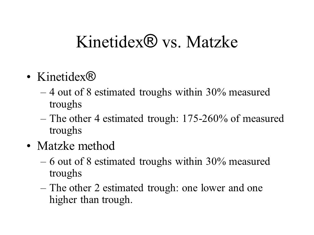 Kinetidex® vs. Matzke Kinetidex® Matzke method