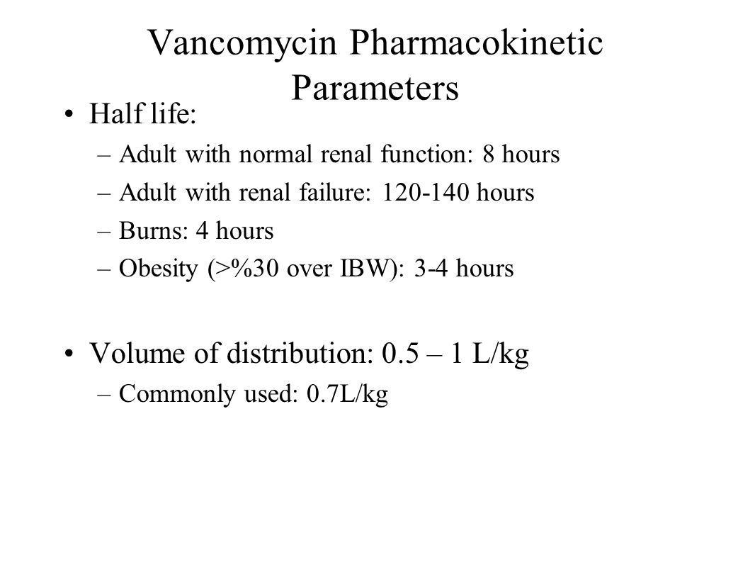 Vancomycin Pharmacokinetic Parameters