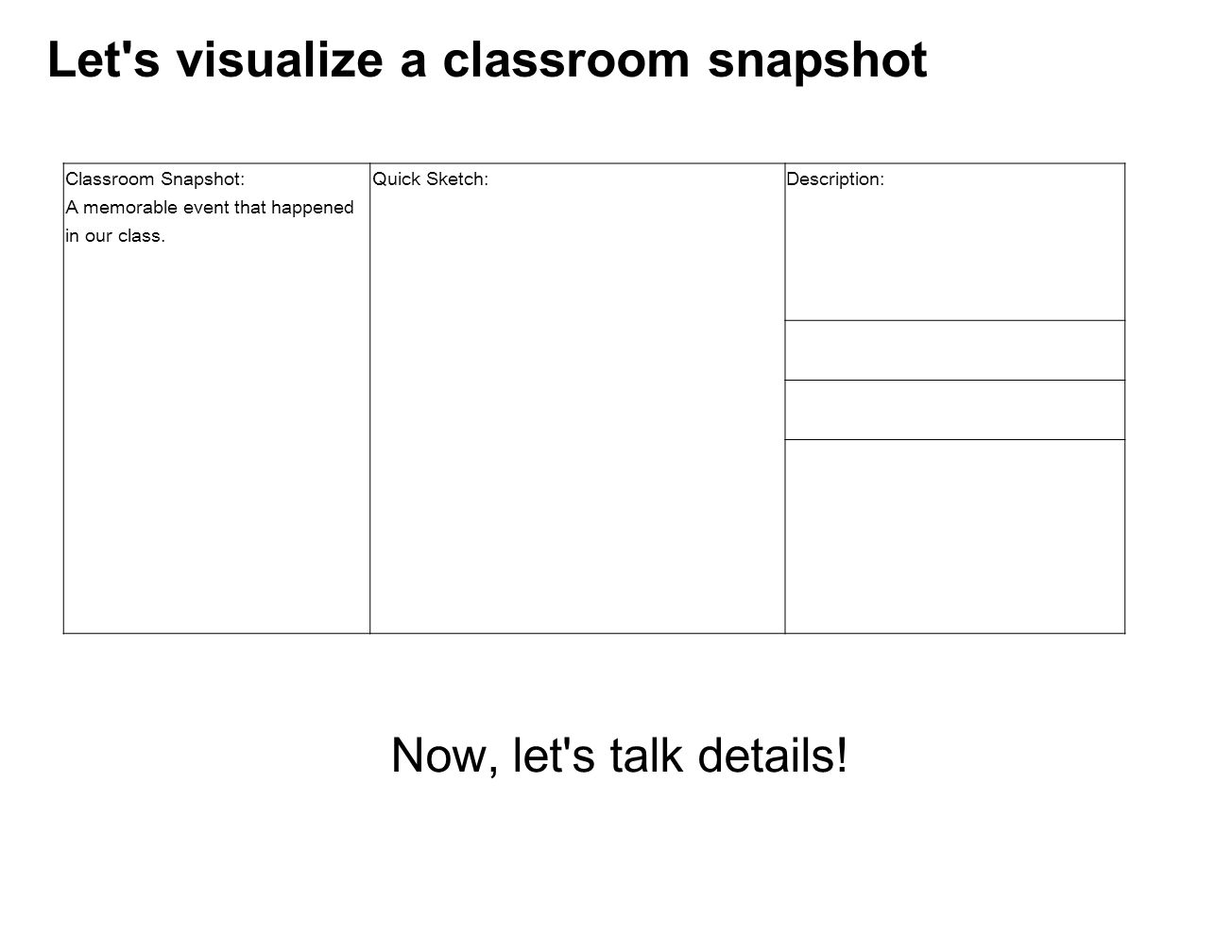 Let s visualize a classroom snapshot