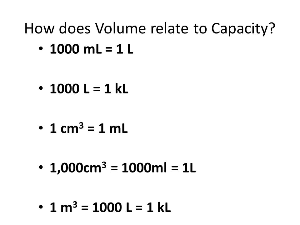 How does Volume relate to Capacity
