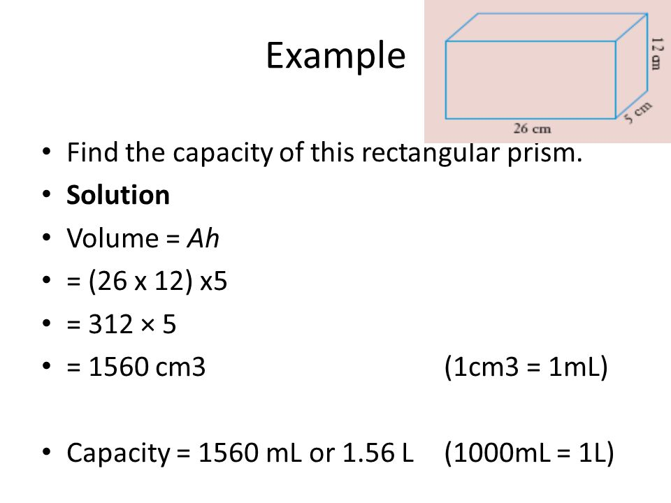 Example Find the capacity of this rectangular prism. Solution