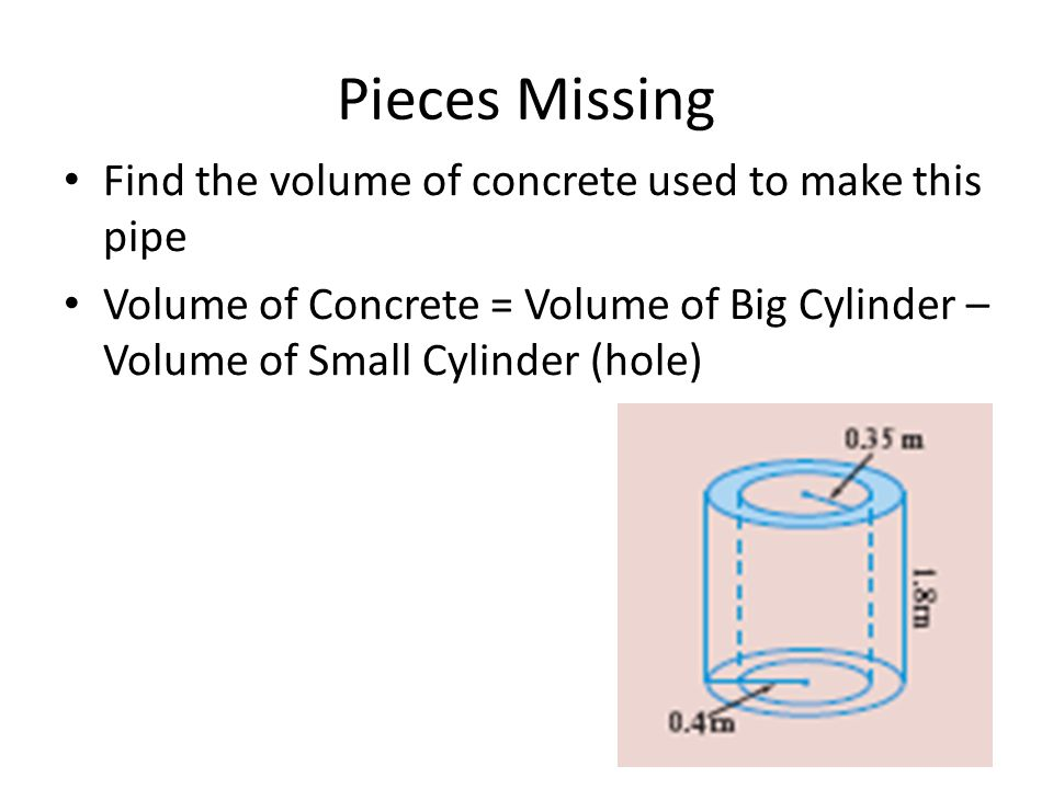 Pieces Missing Find the volume of concrete used to make this pipe