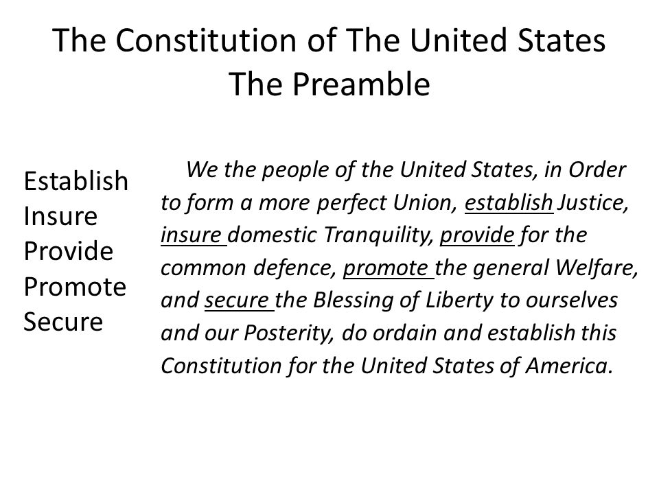 The Constitution of The United States The Preamble